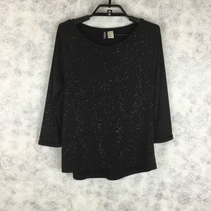 H&M Divided Black 3/4 Sleeve Top Silver Glitter